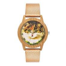 Fashion Women Watch Nature Wooden Grain Leisure Cat Dial Luxury Brand