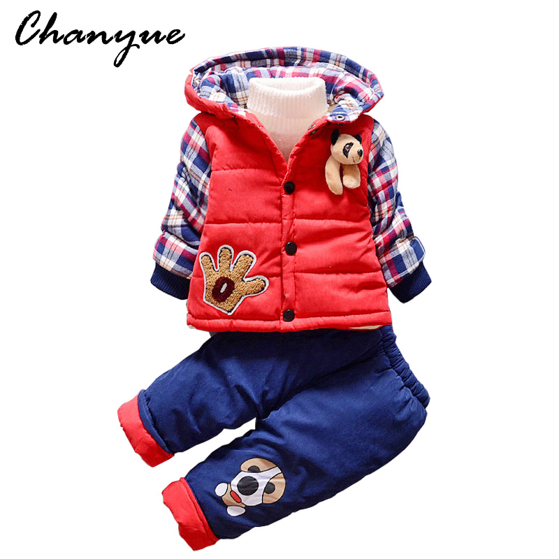 Chanyue Baby Boys Winter Cartoon Animal Jacket Warm Thickening Cotton-padded jacket Suit Set Coat+ Baby Boys Thickening Trousers 2015 cotton padded elderly warm thickening long cotton padded jacket mens new single breasted wholesale zipper loose coat d10
