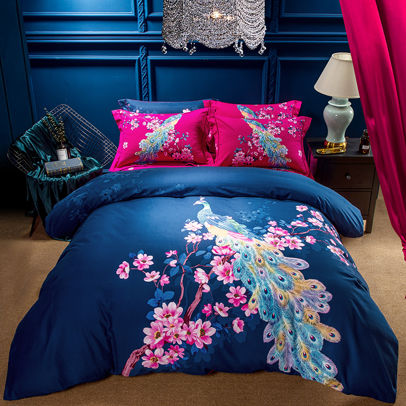 Beautiful Peacock Feather Exotic Bedding Set Queen King Size Soft Brushed Cotton Fabric Winter Warm Bed Sheets Duvet Cover Set