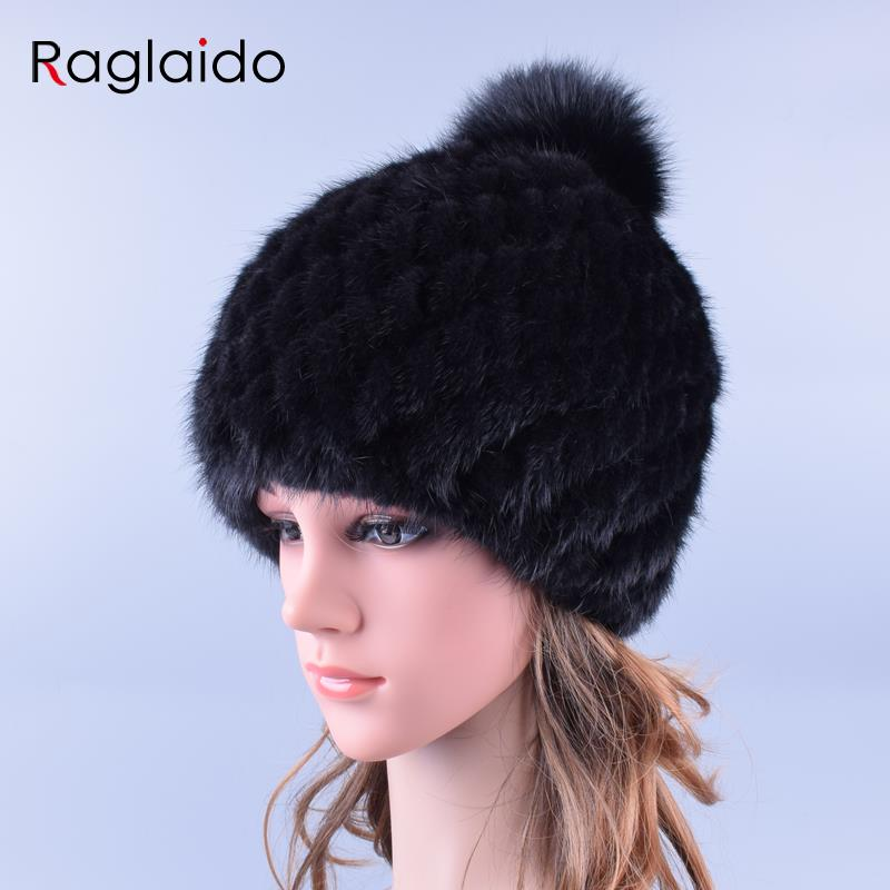 Raglaido Pompom Real Mink Fur Hats for Women With Fox Fur Pompoms Knitted  Winter Beanies Cap Thicken Brand Cap LQ11192 winter mink hat for women genuine fox fur pompom hats for women winter cable knitted cap female real mink fur skullies