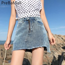 купить Irregularity Skirts Womens Vintage Solid Casual High Waist Pencil Denim Skirts Pockets Button All-matched Jeans Skirt C87 дешево