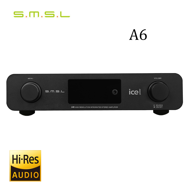 SMSL A6 AK4452 50Wx2 HIFI Audio DSD512 Digital Decoder Amplifier OPTIC/Coaxial/XMOS/USB DAC 384KHZ/32Bit Aluminum Enclosure smsl a8 hifi audio digital power amplifier dac headphone amp decoder xmos solution icepower 125wx2 module ak4490 supports pcm