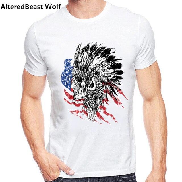 a038227bf7c 2017 Men s Fashion Indian Hunter Design T shirt Cool Tops Short Sleeve  Hipster Tee shirts Short