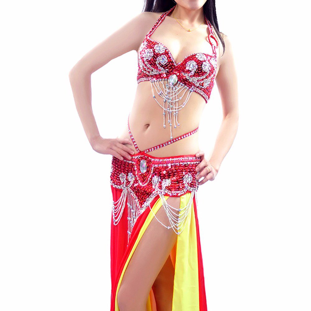 Belly Dance India Costume Professional Bra&Waist Suit Belt Belly Dancing Outfit 12Color Sex Performance/Practice 34/36/38/40 B/C