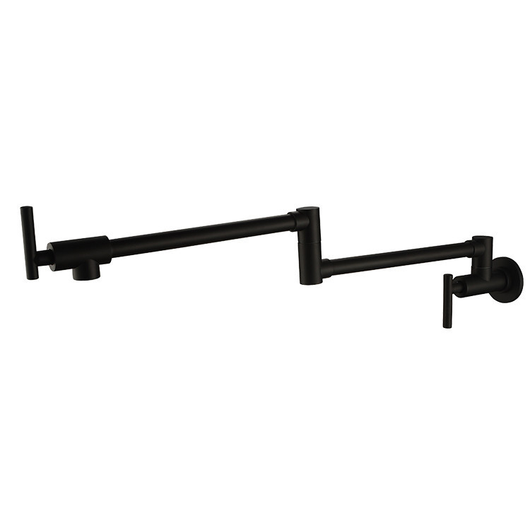 Wall Mounted Brass single cold Pot Filler faucet tap  Double Joint Spout Black Wall Mounted Kitchen Faucet the ivory white european super suction wall mounted gate unique smoke door
