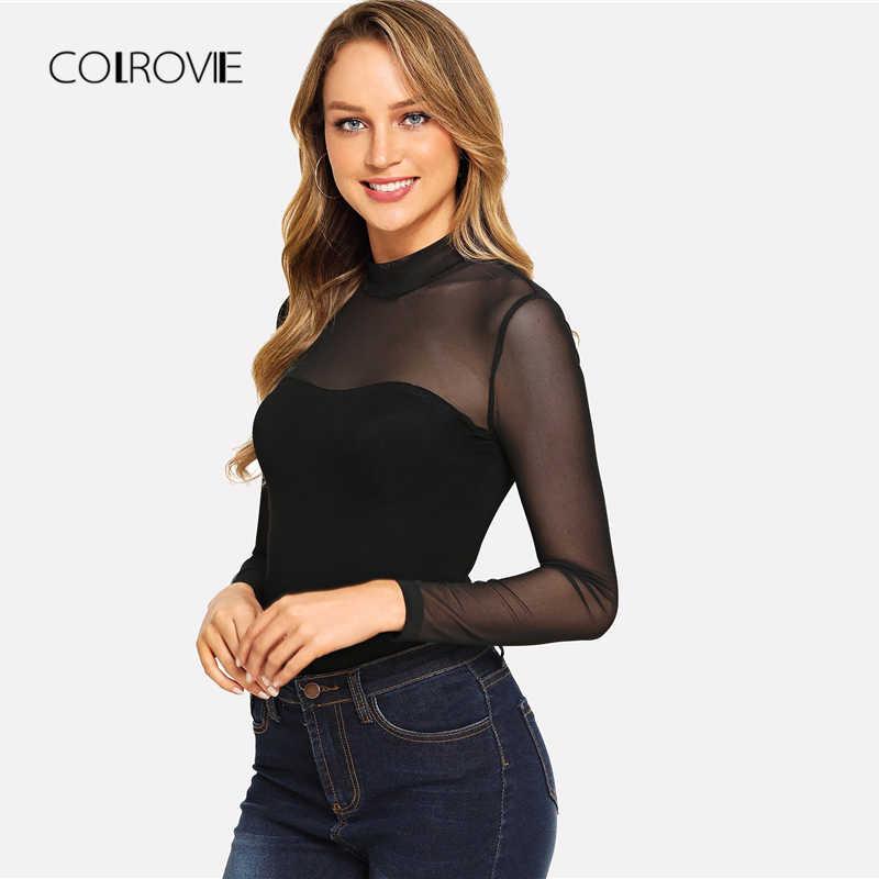 COLROVIE/однотонное облегающее боди с вырезом под горло и сеткой, черного цвета, для женщин, Осеннее сексуальное боди с длинными рукавами, Женские базовые боди