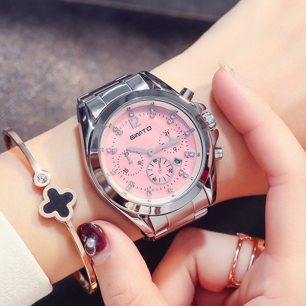 GIMTO 2018 Newest Women Watches Luxury Brand Ladies Quartz Watch Steel Crystal Rose Gold Woman Female Clock relogio feminino gimto big dial gold black skull women watches luxury brand steel male female clock vintage ladies lovers watch relogio feminino