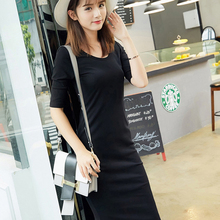 Women dress Cotton Slim fit summer 2019 robe femme Solid color Oneck Sleeve Show thin vogue New arrive fashion brand