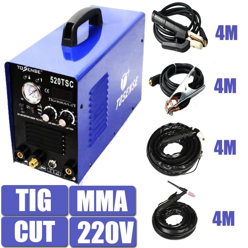 220 V Tensione Singola 3 In 1 Multifunzione Saldatrice 520TSC TIG CUT MMA Plasma Saldatrice Inverter Con Accessori di Trasporto Post