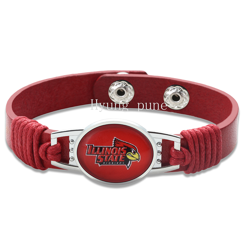 6pcs/lot! Illinois State Redbirds Adjustable Genuine Leather Bracelet for Men Women Snap ...