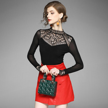2017 new brand runway women autumn primer shirt fashion lace patchwork solid slim elastic shirt top quality office lady shirts