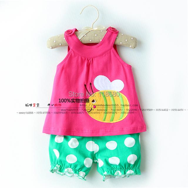 Nueva llegada 2014 del bebé y de los niños arropa sistemas moda Baby girls Tank top + punto shorts juegos del verano del bebé del chaleco niño + pantalones