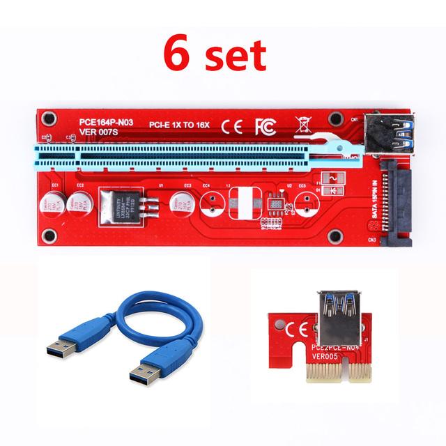 6pcs VER 007S Extender Cable USB 3.0 Converter SATA PCI Express PCI-E 1X to 16X Riser Card  60CM For Bitcoin Miner