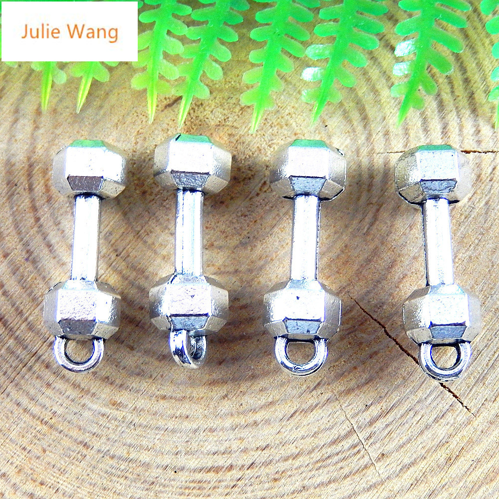 Julie Wang 20PCS Antique Silver Color Dumbbells Fitness Equipment Necklace Earring Bracelet Jewelry For Men And Women Accessor 4