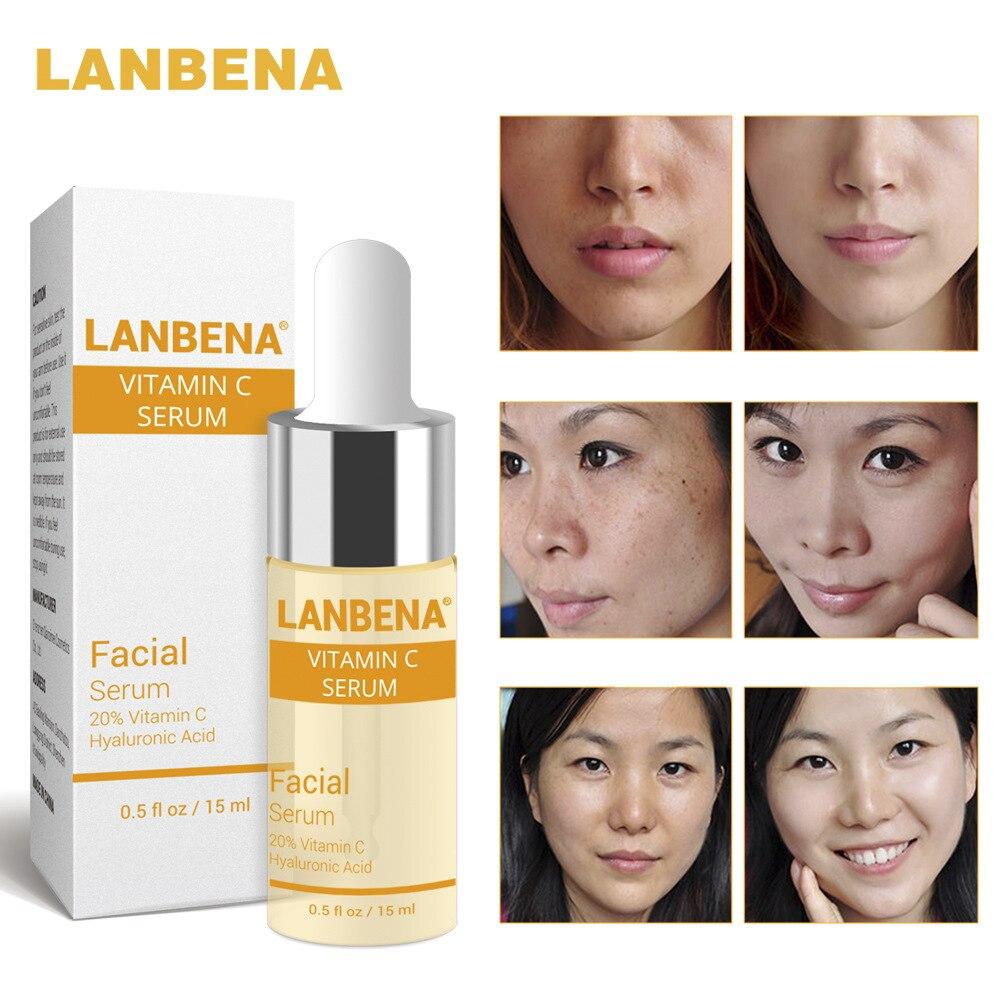 LANBENA Vitamina C Face Serum Hyaluronic Acid Face Cream Whitening Serum Nail Renewance Face Care Freckle Speckle Fade Skin Care