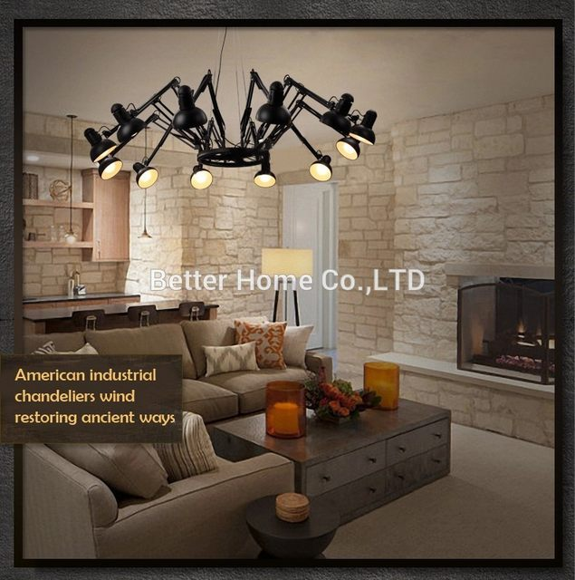 Retractable Pendant Lights Industrial Lamps Spider Lamp Modern Pendant Light  Brief Iiron Retractable Spider Art Deco Lamps
