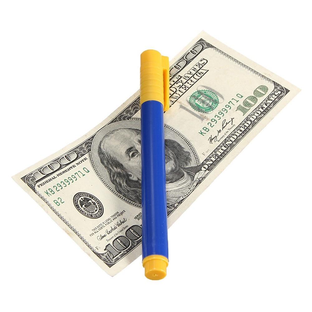 Тестер банкнот ручка поддельная кованая валюта деньги банкнота ручка проверки детектор тестер маркер магический детектор денег ручка 3 цвета - Цвет: Blue