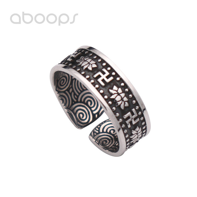 Mens Vintage Black 999 Sterling Silver Buddhism Swastika Lotus Flower Ring Jewelry with Chinese Auspicious Clouds 7mm Adjustable