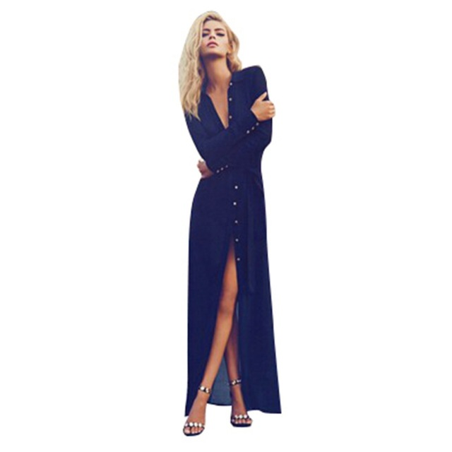 Новые Женщин Сексуальное V Шеи Сплит Кнопку Длинный Кардиган Блузка Рубашка Пляж Макси Платье Deep Blue