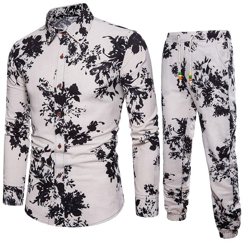 Рубашка + Штаны Для мужчин s рубашки больших размеров Для мужчин рубашки Бизнес Slim Fit с длинным рукавом рубашки с принтом Для мужчин
