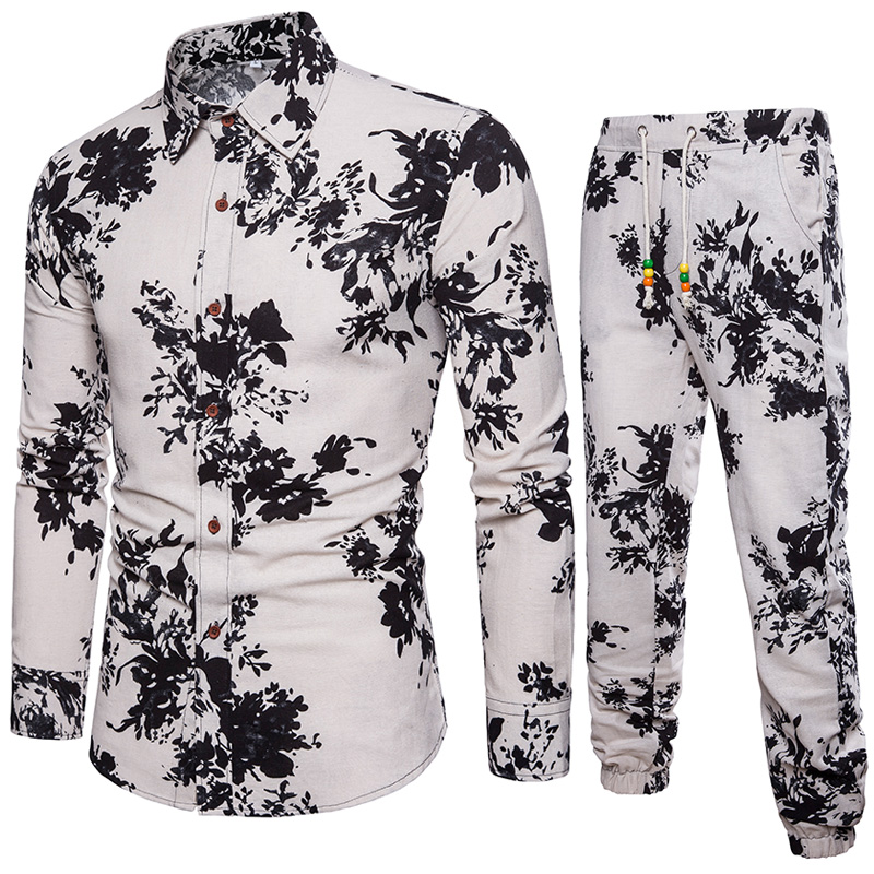 Shirt +pants Mens Shirts Big Sizes Men Shirts Business Slim Fit Long Sleeve Printed Shirts Men
