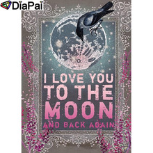 DIAPAI 5D DIY Diamond Painting 100% Full Square/Round Drill Moon text Diamond Embroidery Cross Stitch 3D Decor A21764 diapai 5d diy diamond painting 100% full square round drill text moon buddha diamond embroidery cross stitch 3d decor a21533