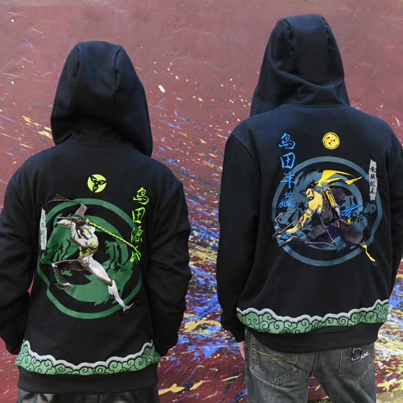 Embroidery Genji Hoodies Sweatshirts Hooded Shimada Brother Hanzo Hoddies Men Casual Long Sleeve Sweatshirts Genji Hoodies