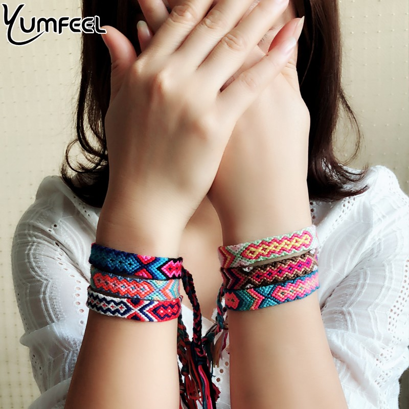 Yumfeel Bohemian Thread Bracelet Retro Handmade Boho Multicolor String Cord Woven Braided Hippie Friendship Bracelets Women Men