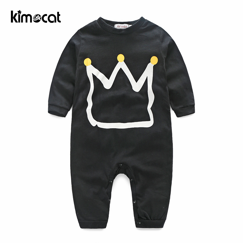 Kimocat Boys Clothing Long Sleeve Golden Crown Prints High Quality Cotton Baby Clothes Jumpsuit Newborn Baby Boy Clothes Rompers image