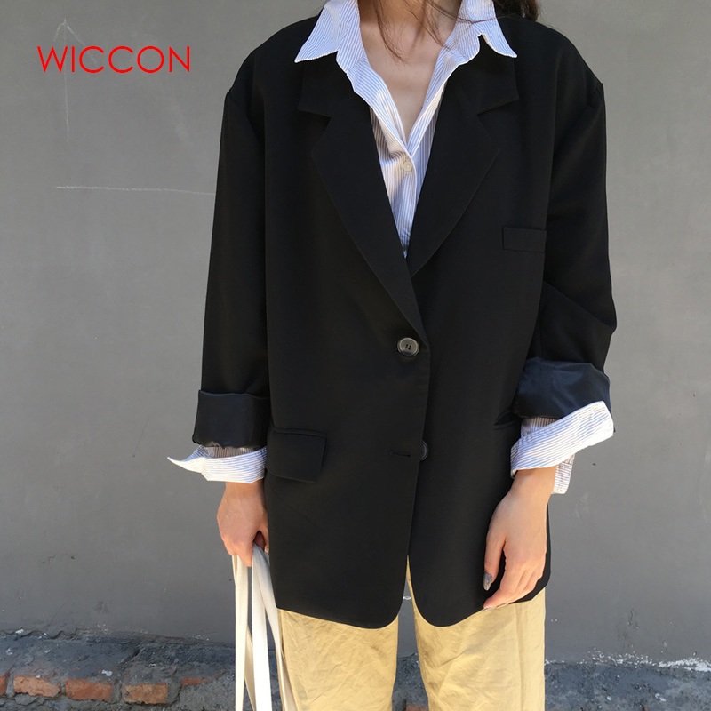 Vintage Full Sleeve Single Breasted Women Blazer Casual Female Jacket Suit Spring Loose Workwear Outerwear