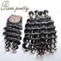 Оптовая 4 связки 7А Бразильских волос 4x4 шелковый база закрытие с необработанные бразильский weave волос девственницы связки свободная волна
