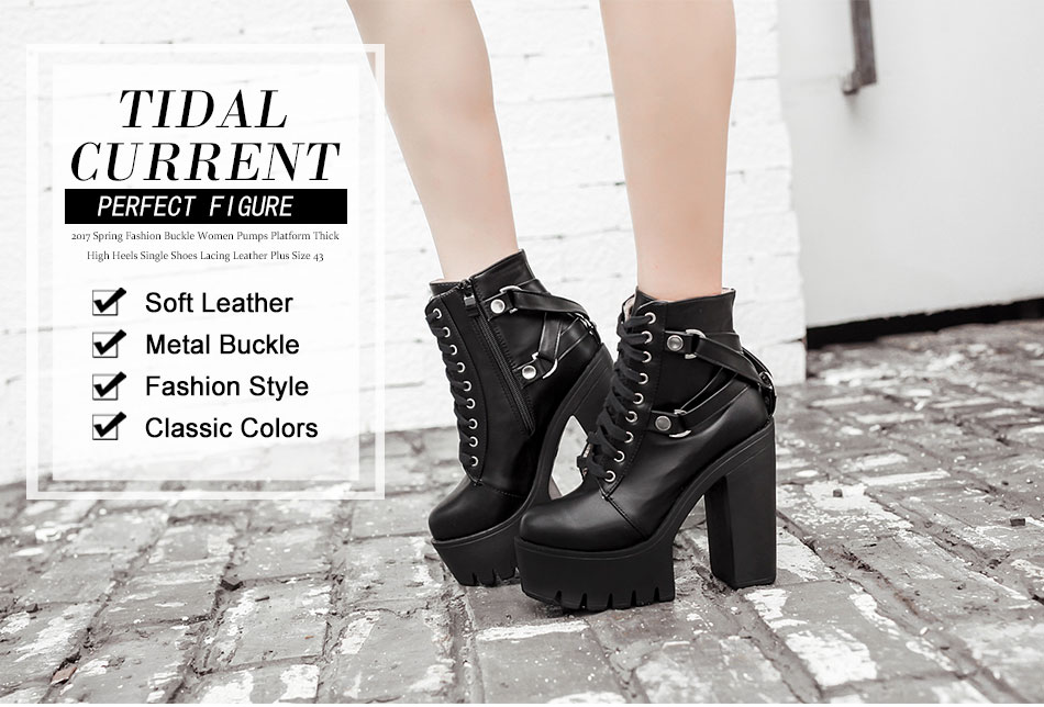 016ec1c725e Gdgydh Brand Designers 2018 New Spring Autumn Women Shoes Black High Heels  Boots Lacing Platform Ankle Boots Chunky Size 35-39USD 23.78-25.48 pair