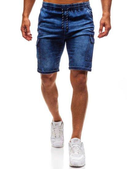 Men's Loose Hip Hop Cropped   Jeans   Work Denim Shorts with Cargo Pockets