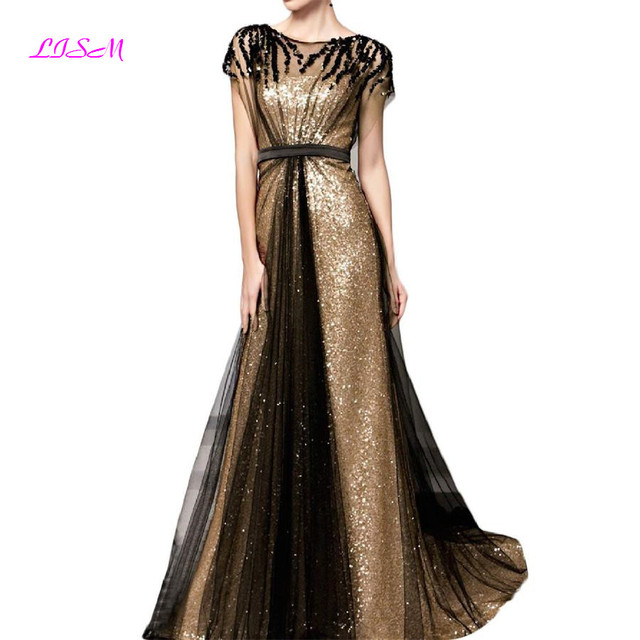 Sequins Long Evening Dresses Scoop Cap Sleeves Tulle Prom Dress Elegant Ruched Empire Formal Gowns vestidos de gala Ladies Gown
