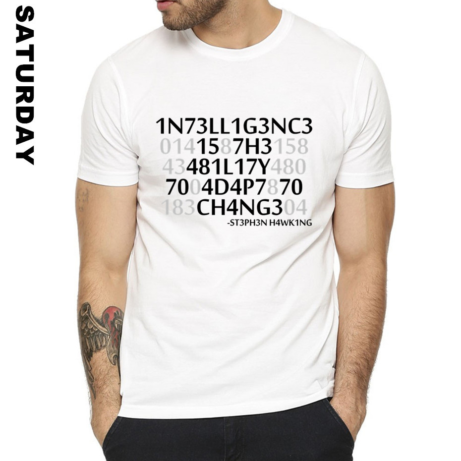 Stephen Hawking Formal Quotes Intelligence Design Funny T Shirt for Men and Women,Unisex Graphic Premium T-Shirt Mens Streewear