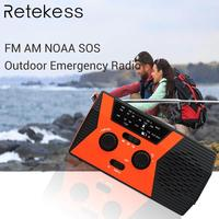 RETEKESS HR12W FM AM NOAA SOS Portable Radio Weather Report Waterproof LED Lighting Hand Crank Solar Radio Receiver For Camping