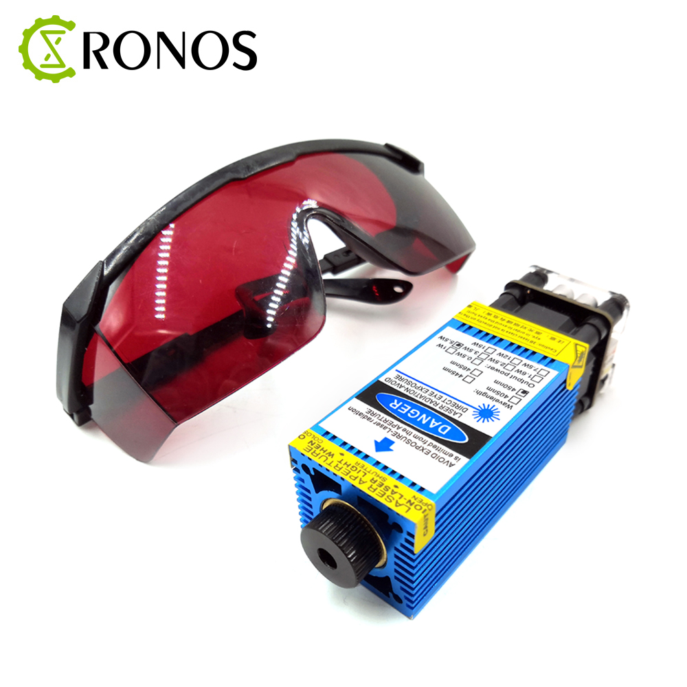 2.5W/3.5W.5.5W <font><b>450nm</b></font> 33mm Focusing Blue <font><b>Laser</b></font> Module <font><b>Laser</b></font> Engraving And Cutting TTL/PWM Control <font><b>Laser</b></font> Tube <font><b>Diode</b></font>+Glasses image