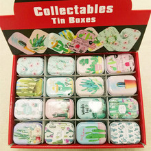 Cactus Style Mini Pill Case Collectables mini Box Diy storage box square lipstick case small tin 32pcs/box