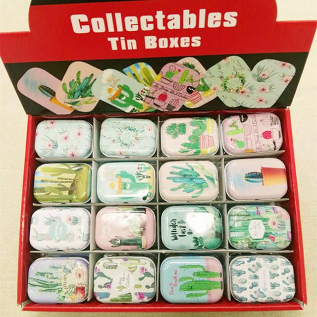 32 Cactus Print Tin Pill Box