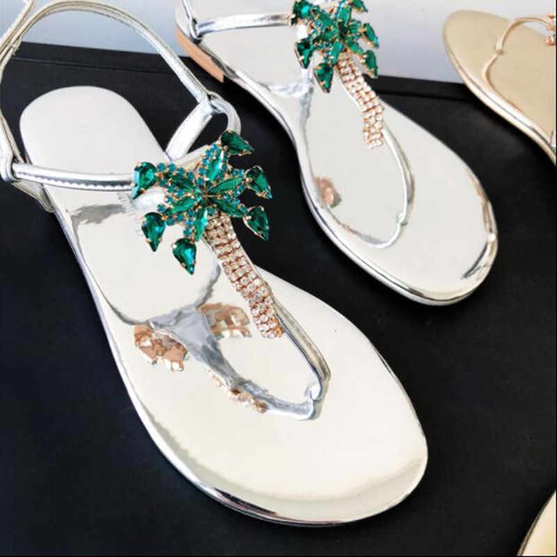 85aa24e3cf37e Luxury Handmade Jeweled Flowers Palm Tree Thongs Sandals Women 2019 New  Flats Narrow Band Flip-flop Bling Crystal Shoes Woman