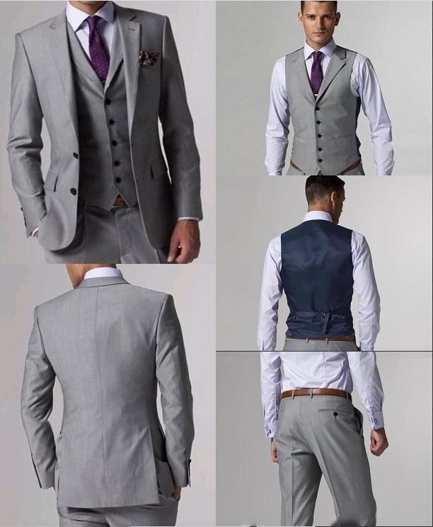 Estilo clásico dos Botones gris claro novio Esmoquin groomsmen hombres boda  prom Trajes por encargo (chaqueta + Pantalones + Vest + TiE) k  304 45bc1d460da2