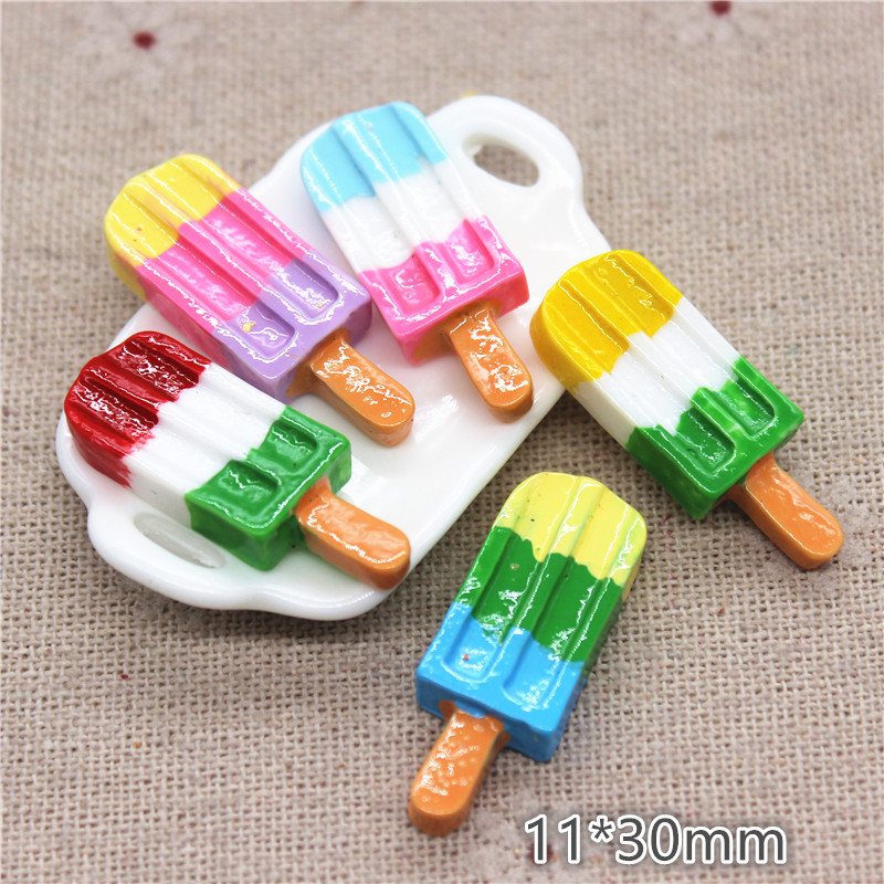 10pcs 11*30mm  Kawaii Resin Tricolor Popsicle Simulation Miniature Food Art DIY Craft Decoration Accessories
