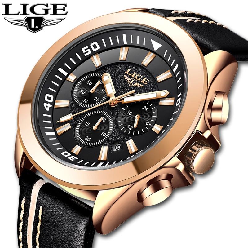 LIGE Hommes Montres Top Marque De Luxe Étanche 24 Heure Date Quartz Montre Homme En Cuir Sport Montre Grand Militaire Horloge Saat erkekl