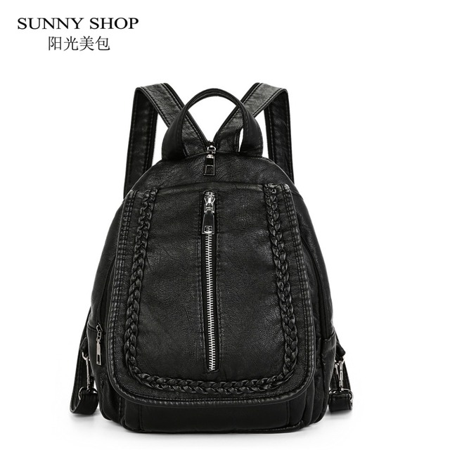 SUNNY SHOP 3 Compartments PU leather Backpacks Female Girls School ...