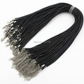 Fast Ship Wholesale 2mm Black Wax Leather Cord Necklace Rope 45cm Chain Lobster Clasp DIY Jewelry Accessories 100pcs/lot