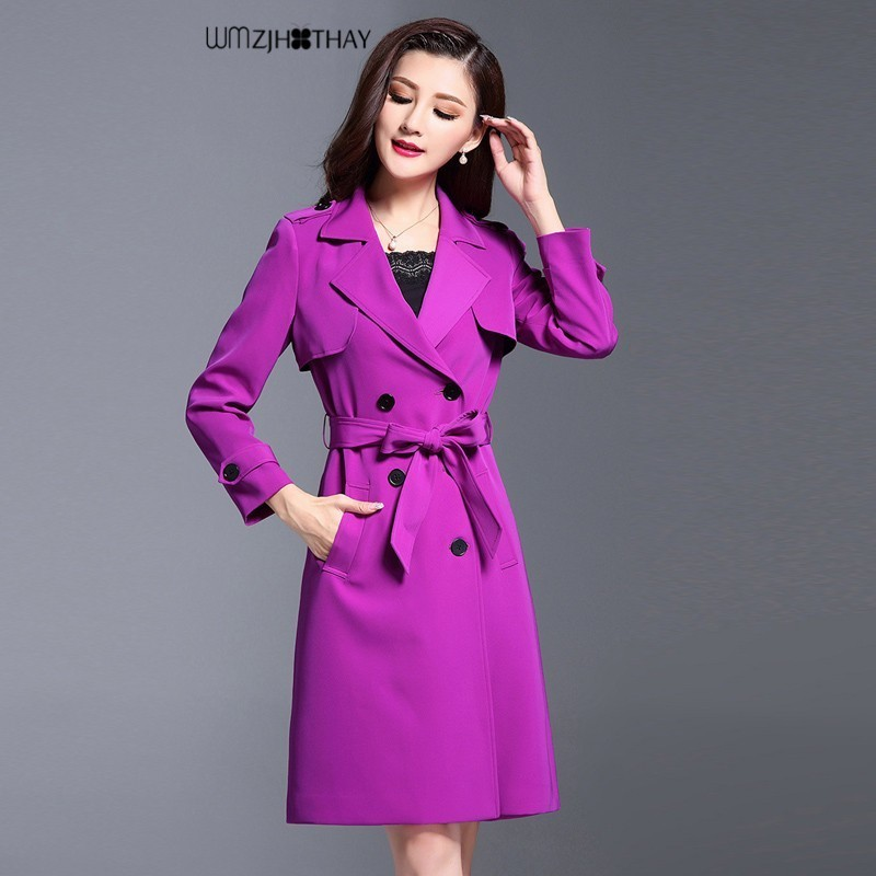 hot-selling real rich and magnificent latest releases US $75.96 40% OFF|Elegant Purple Trench Coats Women Spring Fashion Casual  Defined Waist Double breasted Coat Temperament Loose Windbreaker Coat-in ...