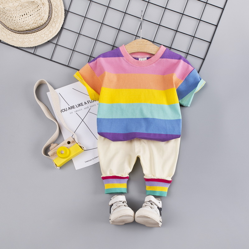 of Baby Summer Children New Casual Short Two-Piece Small Color-Pattern Korean-Version