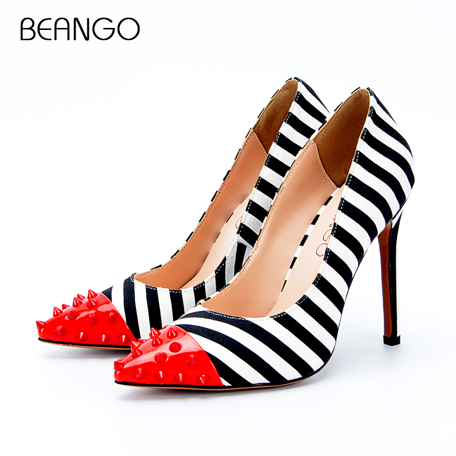 BEANGO 2018 New Fashion Women High Heels Pointed Toe Striped Pumps Mixed Colors Rivet Stiletto Party Wedding Shoes Woman nes mixed colors serpentine sexy women high heels ankle hook loop pointed toe stiletto pumps ladies banquet party shoes woman