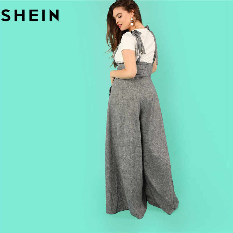 c28d8d151b ... SHEIN Grey High Waist Wide Leg Straps Plus Size Office Lady Long  Jumpsuits 2018 New Flare ...
