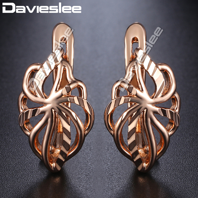 43c8387ef Davieslee Earrings For Women 585 Rose Gold Filled Leaf Shaped Womens Stud  Earring Fashion Jewelry Wholesale DGE164